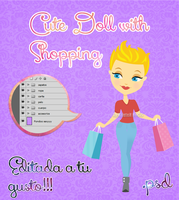 Cute Doll with Shopping .PSD by RoohEditions