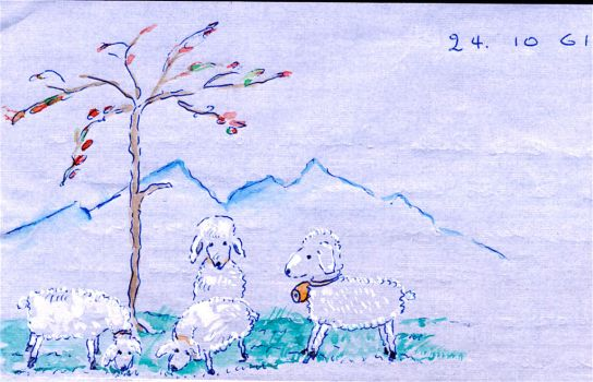 Lambs in the Meadow by MartenFerret