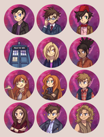 Doctor Who Buttons by ClefdeSoll