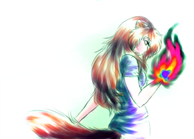 Rainbow Flame by INU-KAG-LOVE