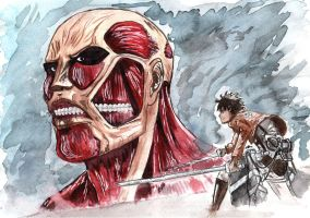 eren vs titan by hytil