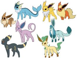 Eevee Evolutions Coloured by kuromizuouji