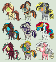 2 Point Pony Adoptables -CLOSED- by xXPastelPaperXx