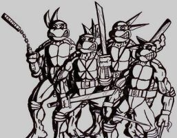 TMNT BW by dark-es-will