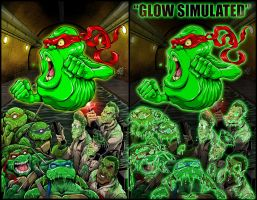 TMNT/Ghostbusters #1 Glow-in-the-Dark cover by dovianax