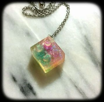 Galaxy Lego pendant by Desolo-Amour