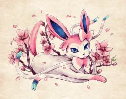 Seasons of Eevee - Sylveon and Cherry Blossoms by juugatsuhoshi