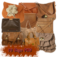 10 Brown Bags PNG by JEricaM