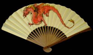 Red Dragon Fan by SarurunKamui