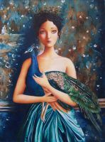 A Girl and Her Peacock by IreneShpak