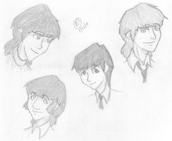 The Beatles Head drawings by Lol-Phail