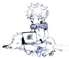 Kiba N Akamaru with a Laptopx3 by bLuPpErYpUp