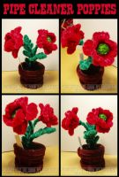 Pipe Cleaner Poppies by teblad