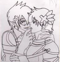 YD and DY from Gaia -Yaoi- Line art by Lunar-Jasmine