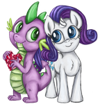 Request 5: mini Rarity and Spike by TheBowtieOne