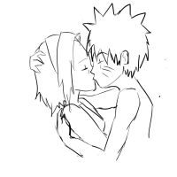 Narusaku kiss outline by kittyface27