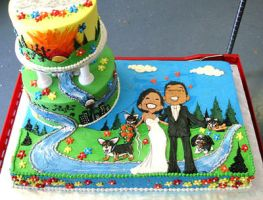 cartoon wedding cake by janjette