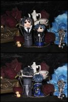 Chibi Sebastian and Ciel Sculptures by fallnangeltears