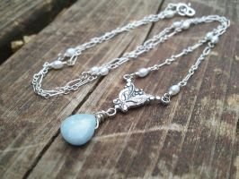 Victorian Frozen Teardrop Aquamarine Necklace by QuintessentialArts