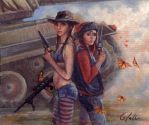 Fight of the Butterflies (Tank Girl and Jet) by Sloppygee