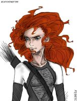 Merida as Katniss by JibblyUniverse