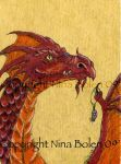 Red and Orange Dragon ACEO by The-GoblinQueen