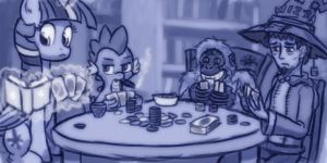 Librarians at cards by Sensko