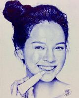 Ballpoint pen drawing of Song Ji-Hyo by chaseroflight