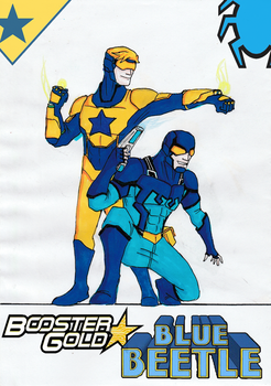 Booster Gold and Blue Beetle REDESIGN by Julalesss