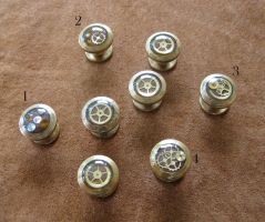 Steampunk shirt or collar studs with brass gears by ProfessorBats