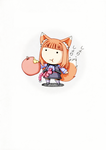 Chibi Horo and her Apple by Tzoli