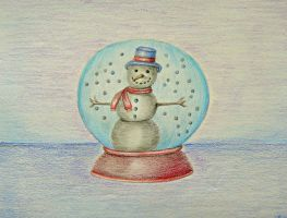 snowman in Globe by 123thuraya