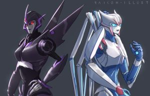 Shattered Glass Arcee and Airachnid by Raikoh-illust