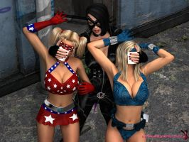 Patriot Girl and Gadget Girl meets Vectrix #2 by mrbunnyart