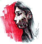 zombie girl portrait drawing by VanS3n