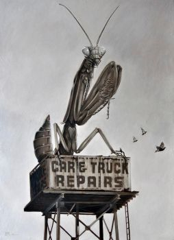 4 Ton Mantis 33 x 22 inches Oil on Panel 2013 by Duncanmattocks