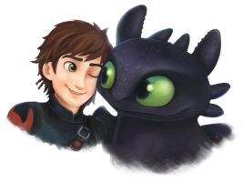 Hiccup and Toothless by Air-Pirate-Bunny