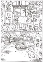 alley way + room illustration by tianyi