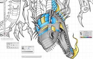 Started working on the color on the Kagonin dragon by ErikDePrince