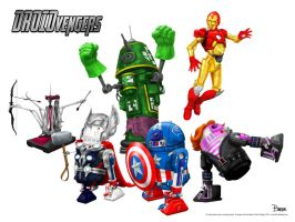 Droidvengers White Background by darrinbrege
