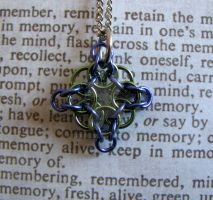 Chain maille pendant my weave green and purple by GraceCM