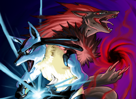 Lucario and Zoroark by pablog143