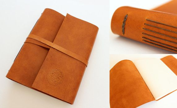 Brown Leather Journal Sketchbook with Decoration by GatzBcn