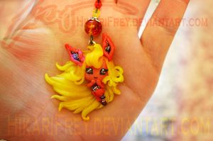 Flareon mini doll necklace by HikariFrey