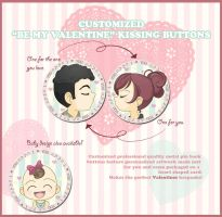 Customized Valentines Button Set For Sale by Kalisama