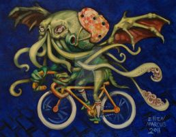 Cthulhu On A Bicycle by ellemrcs