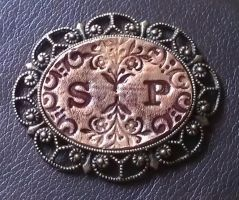 Leather Cameo Pin by StudioGruhnj