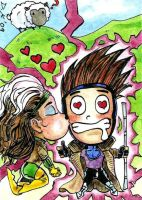 Gambit and Rogue V-Day Chibi by DKuang