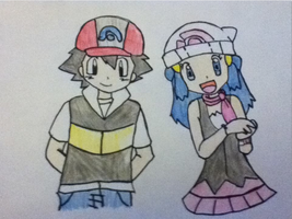 Pokemon: Ash and Dawn (colored) by Redax3