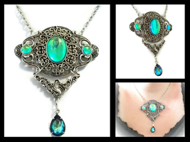 Forest Lake Opal Edwardian Oval Filigree Necklace by HoneyCatJewelry